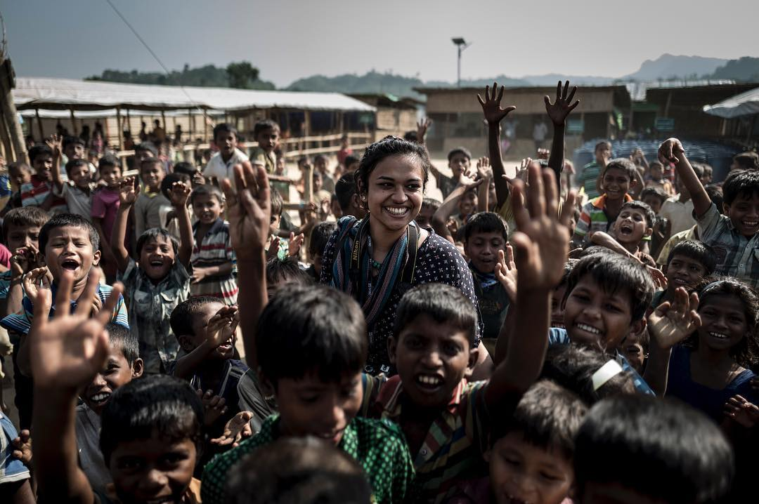 Ive spent the last two days partnering up with NGO @bracworld and their response to the Rohingya refugees. Im very impressed with how they include local community and Rohingya community as well instead of forcing external staff without local knowledge. If you can spare a few dollars go donate as they really stretch every penny for the Rohingyas. Here its their wonderful communications officer in a joyful moment as we ended up with a stampede of children. A good memory in the mist of a crisis